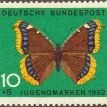 "1962 - W. Germany - ""Butterflies"" Postage Stamps - Stamps"