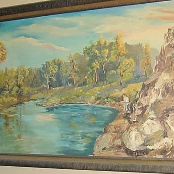 large painting man fishing  - Visual Art