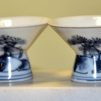 Two Paper-thin Porcelain Sake Cups - Asian