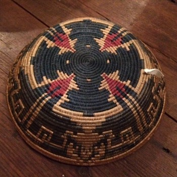 Native American Basket with blue and red pattern? - Native American
