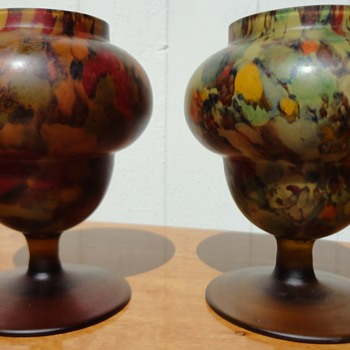 Art Deco Urns Tan Satin Spatter Finish