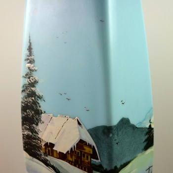 "UPDATE: Legras (attrib) ""Jersey"" enameled glass vase with Winter scene, ca. 1900"