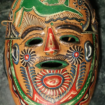 Old Mexican Pottery Mask - Folk Art
