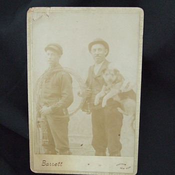 Cabinet card of Telephone Line workers - Photographs