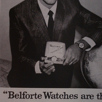 "JERRY LEWIS ADVERTISEMENT OF ""BELFORTE WATCHES"""