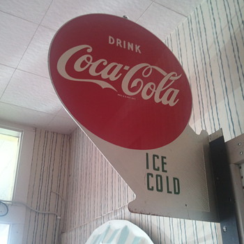 1958 coke tin &quot;Ice cold&quot; flange sign !! Rare?? - Coca-Cola
