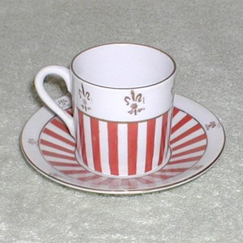 Red &amp; White striped demitasse cup &amp; saucer