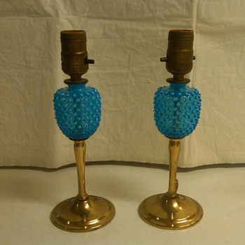 Early Pair of Fenton Blue Opalescent Hobnail Lamps - Glassware