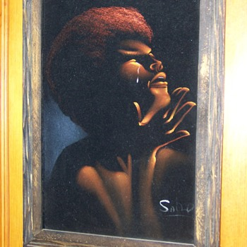 Rare Oil Painting on Cloth of  Activist Dr. Angela Davis, Unknown Artist??? - Visual Art