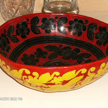 Carved Gourd Bowl Painted Yellow and Red