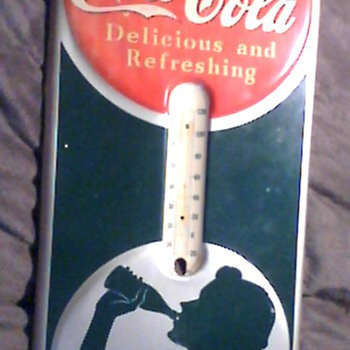 1940 Coca-Cola silhouettet thermometer - Coca-Cola