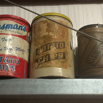 Potato chip cans, baking powder can - Advertising