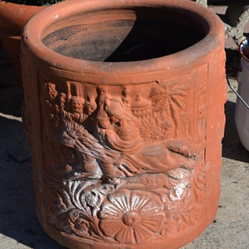 Beautiful, old, terracotta planter - from India or China or ?? - Art Pottery