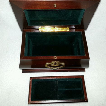 Vintage Cherry Wooden Tabletop Jewelry Box - Fine Jewelry