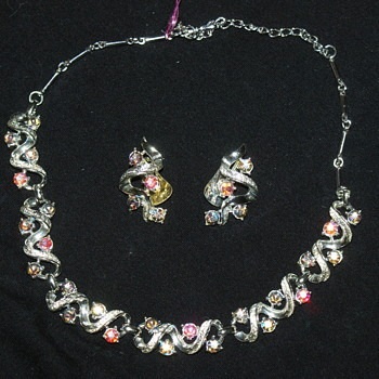 Vintage Coro AB Necklace and Earrings