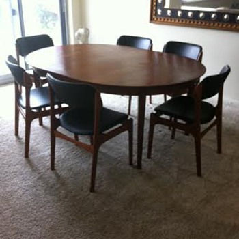 My Eric Buck Design Chairs and Table...Credenza was curb side..Refinished:)