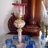 1870's Meissen Kerosene Lamp w Cranberry Etched Shade