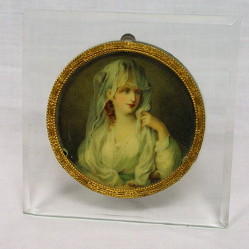 Miniature Portrait framed in Brass and Glass - Germany