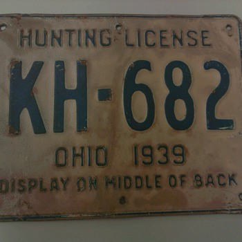 1939 Metal Ohio Hunting License - Signs