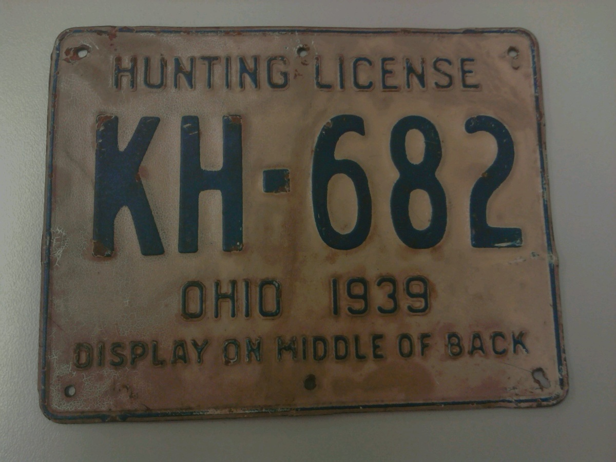 1939 metal ohio hunting license collectors weekly for Ohio state fishing license