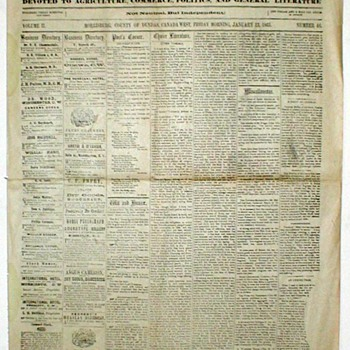 "1865 - ""The Dundas Courier"" Newspaper"