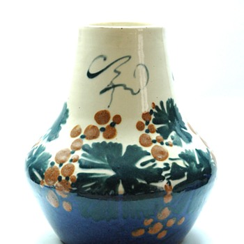 french art nouveau pottery vase byLEON ELCHINGER- grapes pattern, circa1910