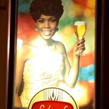 Lighted Schaefer beer signs w/ African American women