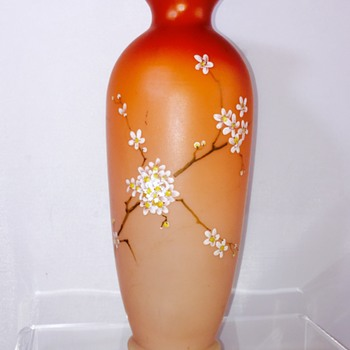 Early Loetz DEK I/107 Peach Cream Cased Enamelled Vase 10""