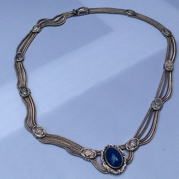 Vintage Blue  stone necklace  - Fine Jewelry