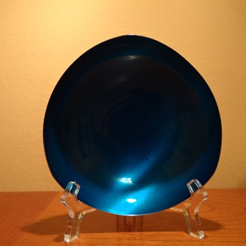 VINTAGE  CARL CHRISTIANSEN -DENMARK - BLUE ENAMELED SILVERPLATE BOWL