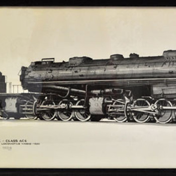 1960s Southern Pacific Cab Forward Locomotive Drawing - Railroadiana