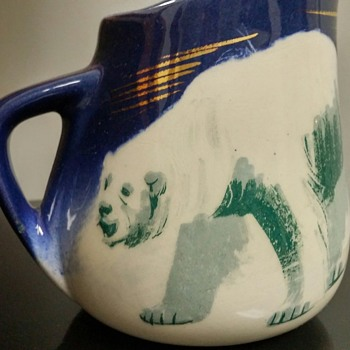 Matthew Adams signed polar bear mug - Art Pottery