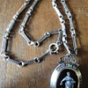 Enameled Silver Niello Locket Pendant with matching Necklace