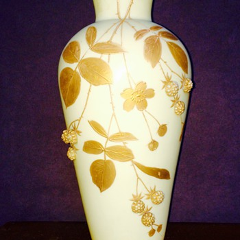 Harrach Enameled Gilt Applied Prunts Flower Custard? Vase