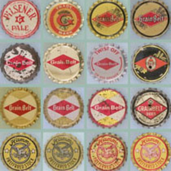 Minnesota cork backed beer caps - Breweriana