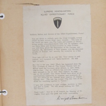 Original Eisenhower D-Day Letter - Military and Wartime
