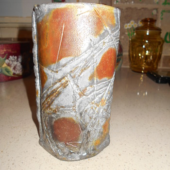 Studio Art Pottery Vase Raku Metallic Copper Bronze Abstract Who Made It?