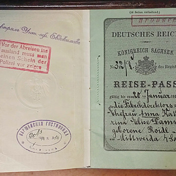 1914 Pre Revolution visa fee revenues on Pre WW1 German passport.