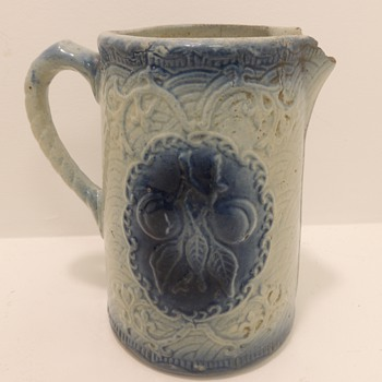 Blue & White Stoneware Pitcher - Apricots - Art Pottery