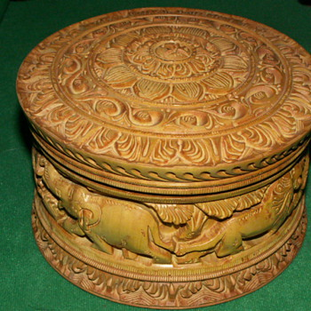 Vintage Hand-Carved Wood Box & Lid ~ India
