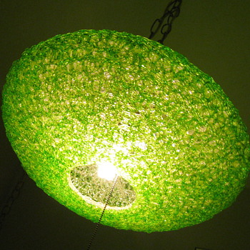 50&#039;s Flying Saucer Spaghetti Light/Lamp LIME GREEN - Mid Century Modern