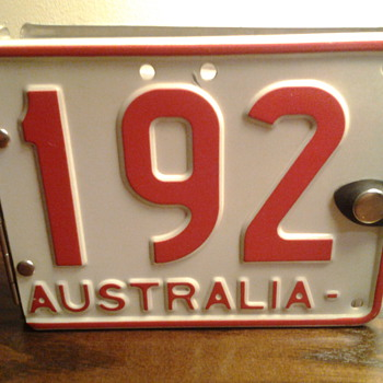 Repurposed Aussie license plate photo album.