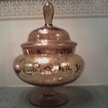 &quot;Huge&quot; Mid Century /Weeping Gold / Italian Art Glass /Apothecary Jar  - Art Glass