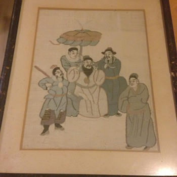 A lovely hand stitch Japanese picture on silk - Asian