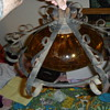 Amber and Wrought Iron Swag Lamp