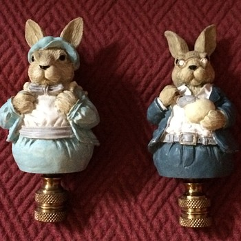 Mr. & Mrs. Bunny Lamp Finials - Animals