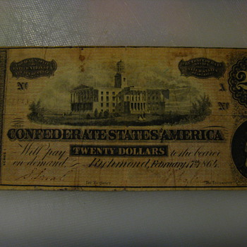 Confederate 20$ Bill 1864 - US Paper Money