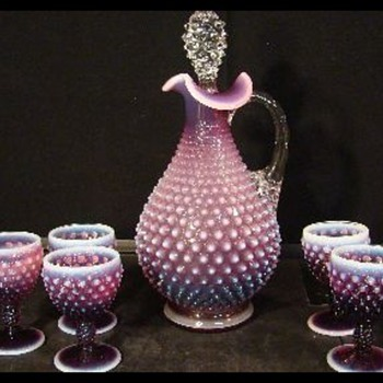FENTON PLUM OPALESCENT HOBNAIL  DECANTER AND 6 WINE GOBLETS! - Glassware