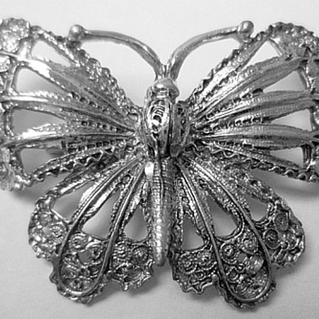Large Silver Butterfly Brooch - Costume Jewelry