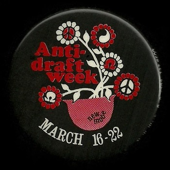 New MOBE Anti Draft Week Vietnam Pinback Button - Medals Pins and Badges
